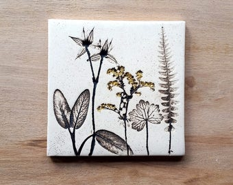 Ceramic botanical tile with 24ct gold leaf