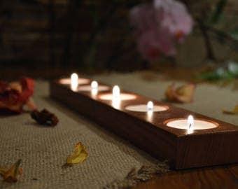 Candle Holder, Wood Tea Light Candle Holder, 5 Tea Light Holder, Home Decor, Rustic Wedding Decor