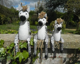 Wooden Zebra Carving - Sitting Shelf Sitter Zebra Ornament - Zebra 35cm