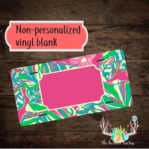 Lilly Inspired Floral Vinyl Blank License Plate Blank