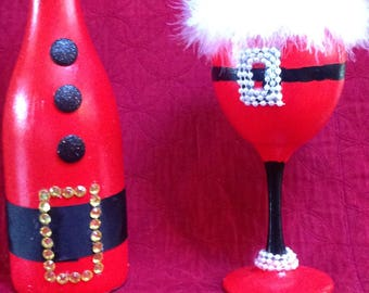 Santa Baby Glass and Bottle