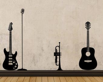 Electric Guitar ~ Microphone ~ Trumpet ~ Acoustic Guitar ~ VINYL WALL DECAL