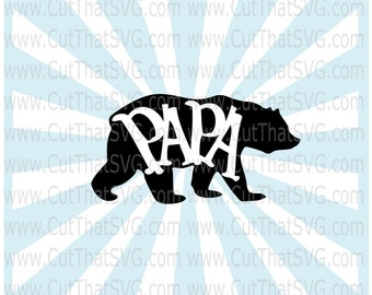 Papa Bear SVG, daddy bear svg, bear svg, dad bear svg, animal svg, zoo svg, Black bear Clipart svg, Woodland svg, Big Bear svg, papa bear
