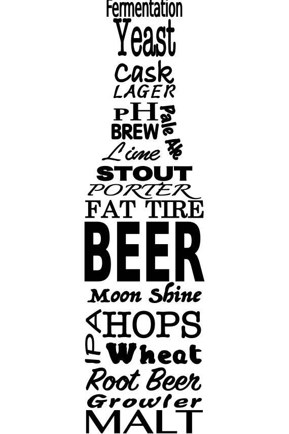 Svg Beer And Beer Brewing Terms In The Shape Of A Beer