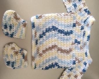 Crochet baby sweater set