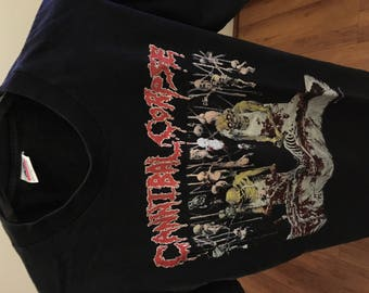 "vintage Cannibal Corpse ""butchered at birth"" shirt size L 90s"