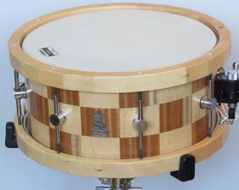 "14""x7"" Stave Snare Drum, Beech Wood Snare drum, Mahogany Snare Drum, Wooden Birch hoops, Handmade Stave drums, Custom Snare Drums,"