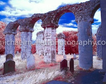 Colour Infrared Church ruins in Orford, printed canvas