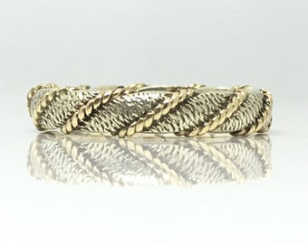 Vintage 2 Colour Woven 9ct Yellow & White Gold Band Ring / Brushed White Gold with Yellow Gold Entwined Rope Around Size K (USA 5 1/4)