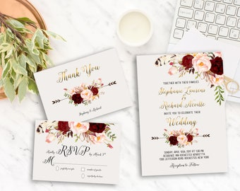 Wedding Invitation Suite Printable Floral Digital Wedding Marsala Burgundy Watercolor Gold letters Invitation Bohemian Wedding Invite WS-013