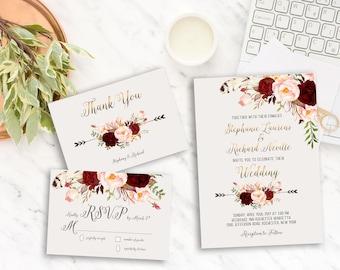 Wedding Invitation Suite Printable Floral Digital Wedding Marsala Burgundy Watercolor Gold letters Invitation Bohemian Wedding Invite WS-013