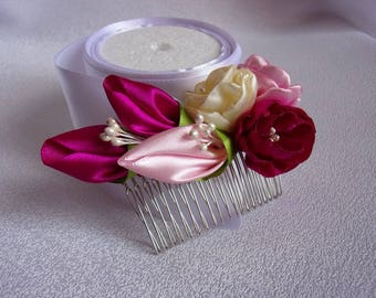 Comb hair with flowers in satin/attachment of marriage/comb kanzashi/Ribbon satin flowers/flower barrette