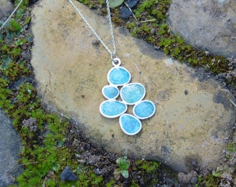 Quartz blue pebble necklace