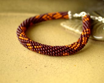 Bead Crochet Bracelet, Beadwork Jewelry, for Women, Elegant Bracelet , Brown, Orange, Handmade Bracelet, Gift, beaded bracelet