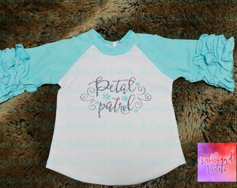 Wedding/'Petal Patrol with Flowers'/Flower Girl/Flower Girl Photos/Glitter Flower Ruffle Raglan/Wedding Raglan Shirt/Wedding Party