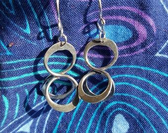 Vintage Figure Eight Silver Earrings