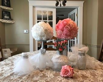 Bridal dress vases  and flower topiarys