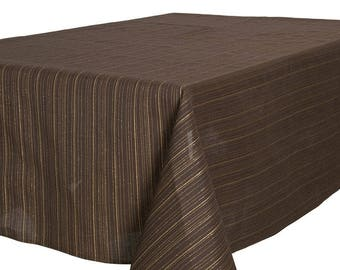 Nice Brown TABLECLOTH   Made In Europe   With Golden Stripes   Light Weight  Fabric   Linen