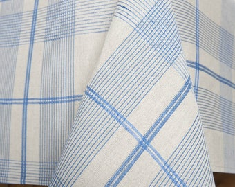 Blueish LINEN TABLECLOTH - made in Europe - with stripes - Natural Textile