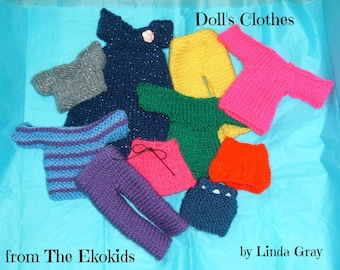 Knitting pattern download (pdf 747kb), knit dolls clothes, QUICK and EASY toy pattern to knit, 2.00