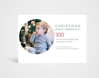 Christmas Mini Sessions Template - Instant Download Photoshop Template, Photographer's Marketing Board