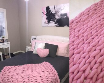 Pink Chunky Knit Australian Merino Wool Throw