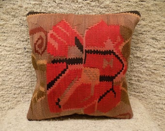 17x17 handwoven pillow,,turkish cushion,decorative pillow,vintage pillow,tribal pillow,wool pillow,bohemian cushion,kilim cushion,
