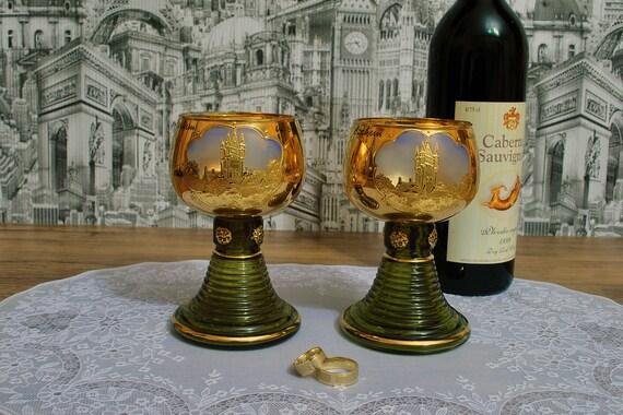 Pair Vintage Roemer Rhine Wine Glasses | Gilt and Rhinestone Grapes, Dessert Wine Glasses, Made in Germany, Konigssee glassware 50s