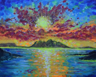 Fluorescent Sunset Fine Art PRINT of Original Painting