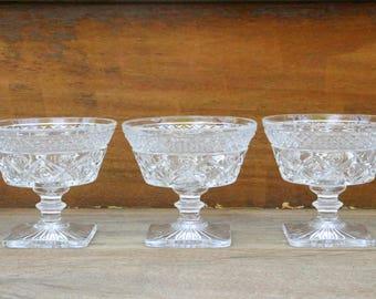Set of Three Vintage Crystal Dessert Cups