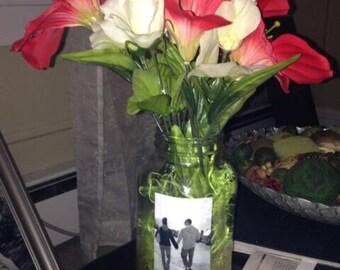 Mason jars with photo