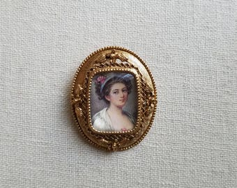 Vintage Florenza Portrait Pendant and Brooch, Signed
