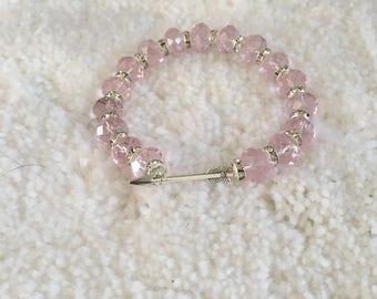 Pink Cupids arrow bracelet, pink beaded bracelet, pink jewelry, pink bracelet.
