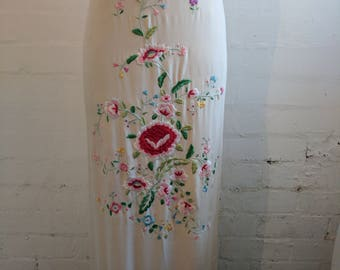 Vintage Sue Wong floral embroidered 1920's flapper style silk dress with tassels