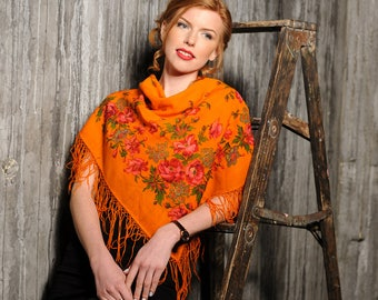 "Vintage shawl ""Orange passion"""