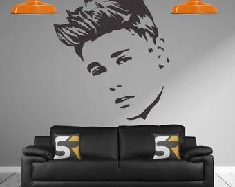 Justin Bieber Sticker, Justin Bieber Face Decal, Justin Bieber Wall Sticker, JB Decal, Justin Bieber, Justin Bieber Bedroom Wall Decal,