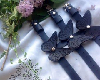 Women's bracelet, Bracelet made of leather, leather bracelet , Leather Butterflies, Black Butterfly, Bracelet with butterflies