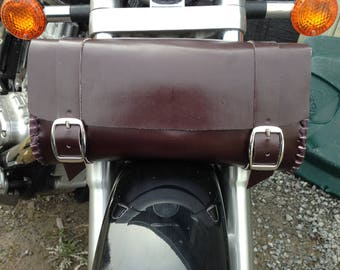 Mahogany Brown Leather Motorcycle Fork Bag, Tool Bag, Hand Laced