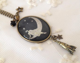 Necklace cameo on the moon.