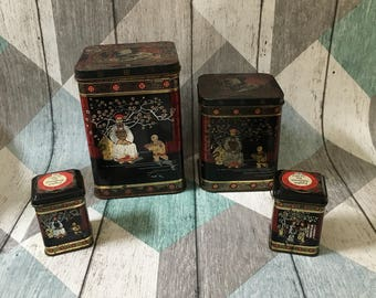 A collection of Four Vintage Tea Tins, Asian Tea Tins four sizes metal tins , Made In England