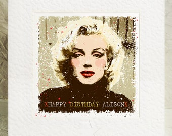 Personalised Marilyn Monroe Birthday card. Screen Icon Blonde Bomshell