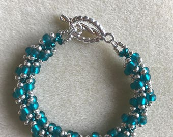 Beaded Bracelet Teal and Silver