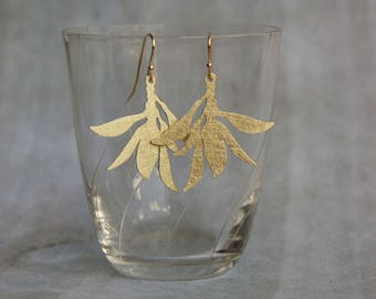 floral earrings / Leafs leaves earrings / brass hand work