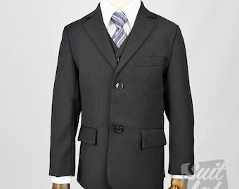 Black Boy Suit - Formal, Wedding, Church, Communion, Tuxedo Suit