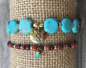 Gold plated charm,turquoise beads bracelet(set of 2)