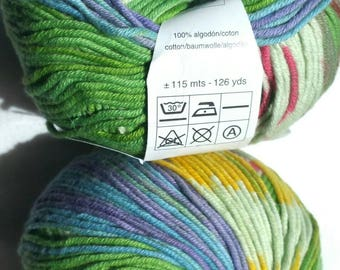Gorgeous green multi color variegated Katia Samba yarn lot 6 50g skeins