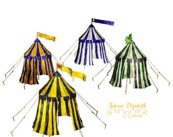 tents, yellow, blue, turkis, color, Watercolor Clipart, Baby, Child, Fun, Craft