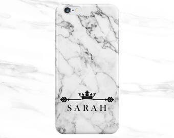 Personalised Name initials White Marble Crown Phone Case Cover for Apple iPhone 5 6 6s 7 8 Plus & Samsung Galaxy Customized Monogram