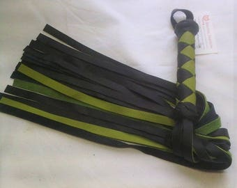 Green and Black Real Leather Flogger