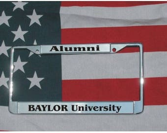 BAYLOR UNIVERSITY Alumni Chrome Laser Engraved License Plate Frame FREE Shipping